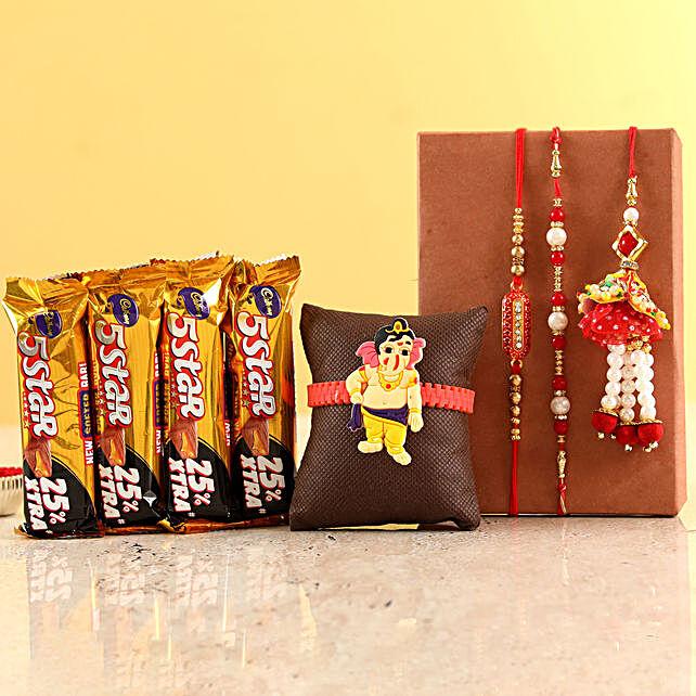 Family Rakhi Set With Five Star Chocolates