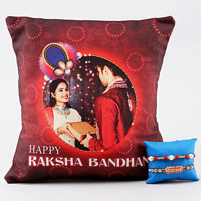 2 Rakhis & Personalised Bro Sis LED Cushion