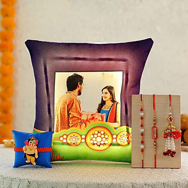 4 Rakhis & Personalised Bhai Behen LED Cushion