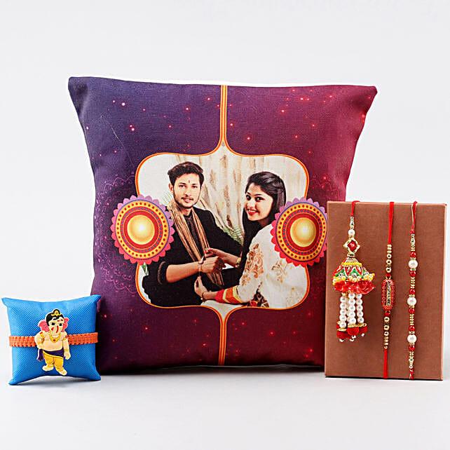 4 Rakhis & Personalised Siblings LED Cushion