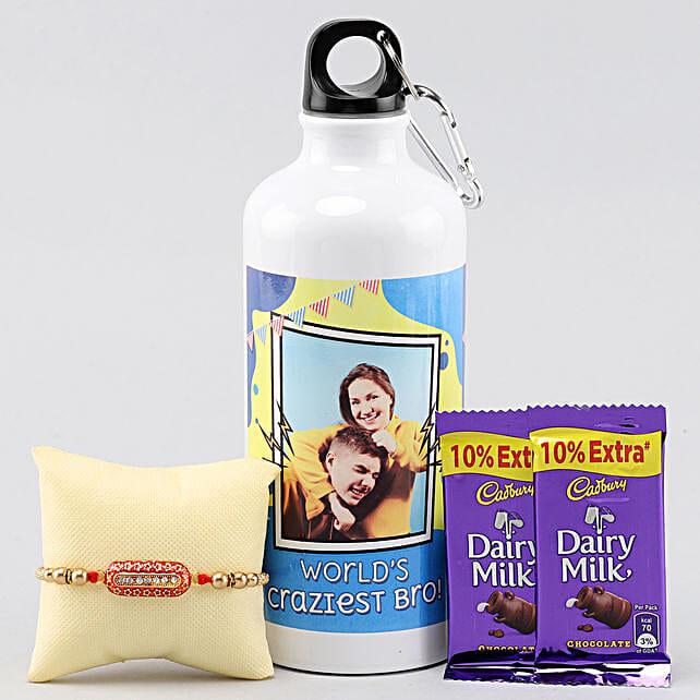 Personalised Bottle With Dairy & Capsule Rakhi