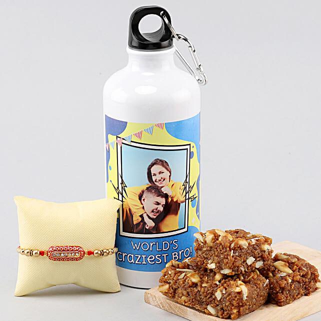 Personalised Bottle With Dhoda Burfi & Capsule Rakhi