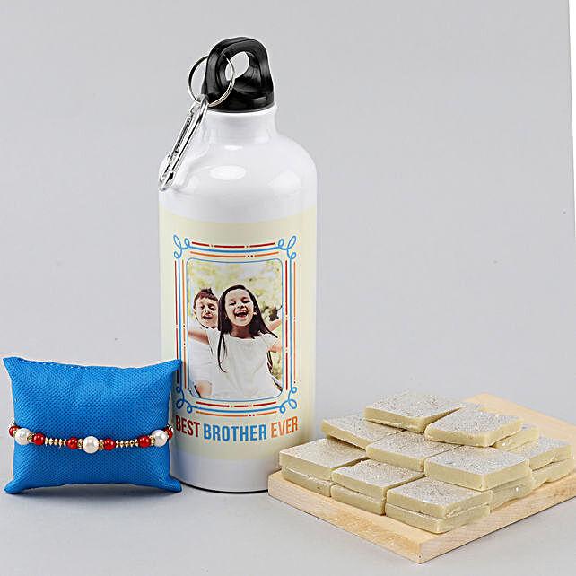 Personalised Bottle With Kaju Katli & Pearl Rakhi
