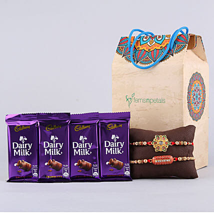 Meenakari Flower & Capsule Rakhi With Cadbury