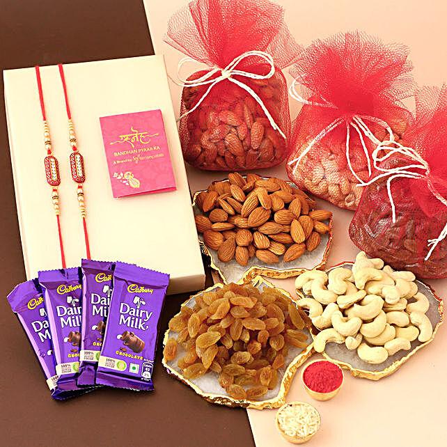 Chocolates Dry Fruits With Capsule Rakhi Set