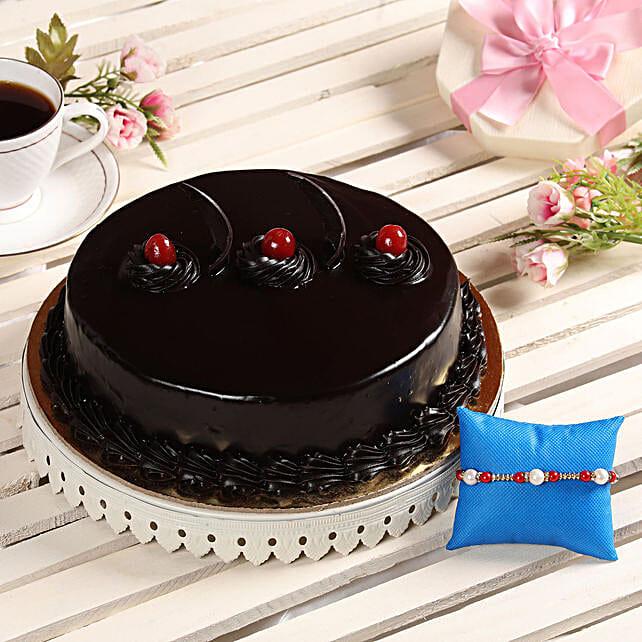 Pearl Rakhi With Truffle Cake- Half Kg