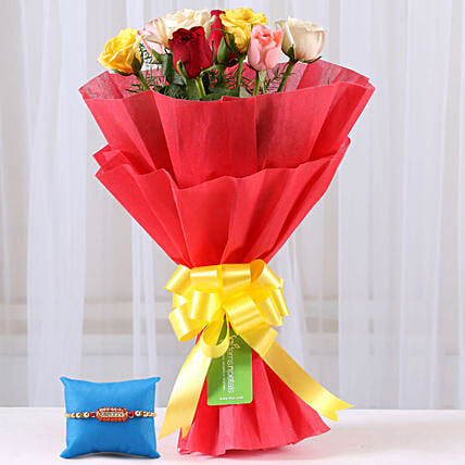 Mixed Flower Bouquet and Rakhi Combo