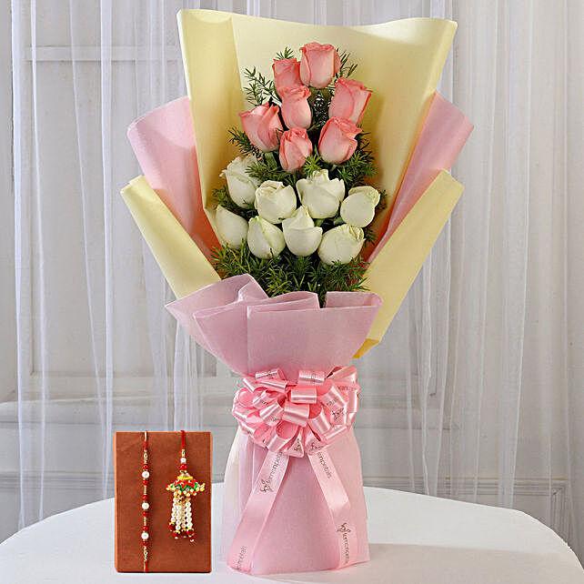 Colourful Roses and Rakhi Combo