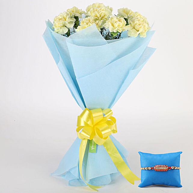 Carnation Bouquet and Rakhi Online:Send Rakhi With Flowers
