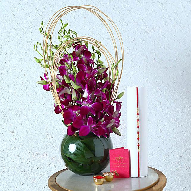 Online Orchids Arrangment and Rakhi