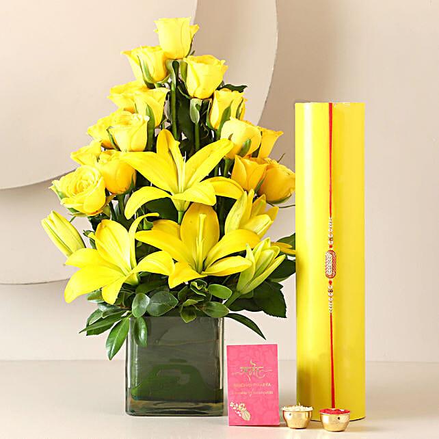 Flower Vase and Fancy Rakhi Online:Send Rakhi With Flowers