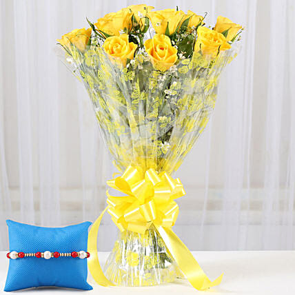 Rakhi with Bunch of Roses Online