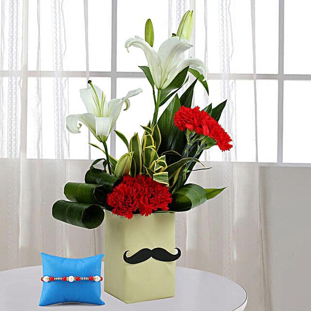 Flower Arrangment and Rakhi for Bhai