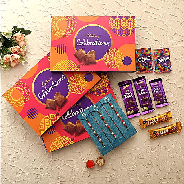 Four Pearl Rakhis & Cadbury Choco Boxes- 3 Pcs