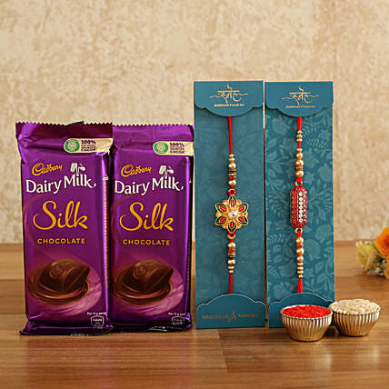 happy raksha bandhan celebration with rakhi n chocolates