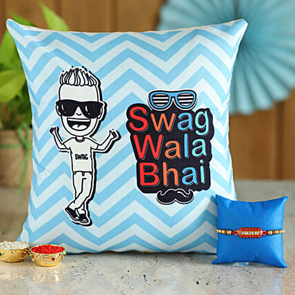 Rakhi and Cushion Set for Swag wala Bhai