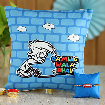 Gamer Brother Rakhi and Cushion Combo