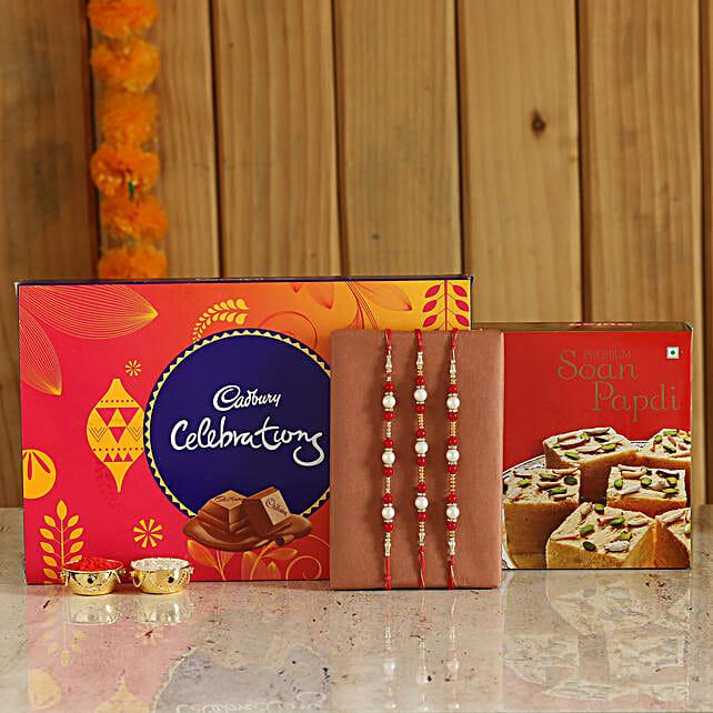 Rakhi and Sweets Combo Online:Buy Set of 3 Rakhis
