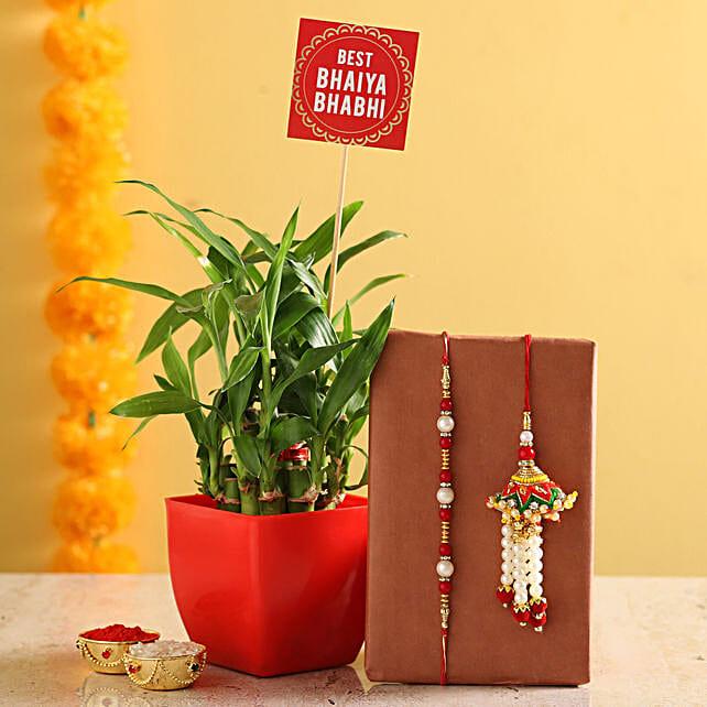Online 2 Layer Bamboo Pot With Bhaiya Bhabhi Rakhi:Rakhi Gifts For Bhaiya Bhabhi