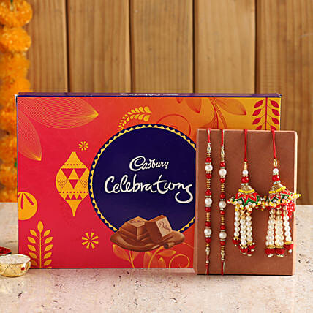 set of 4 rakhi with cadbury celebration box online