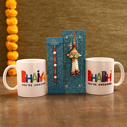 Mug and Lumba Rakhi Combo for Bhaiya Bhabhi