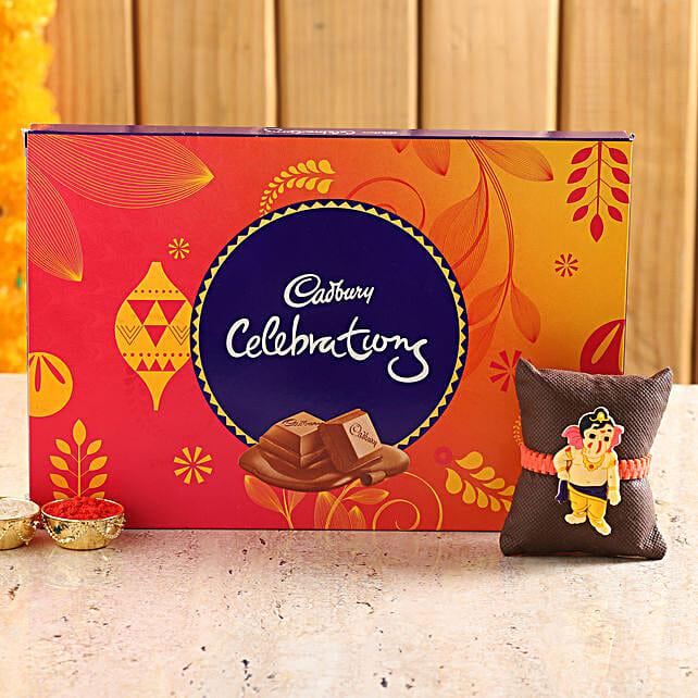 online kid rakhi with sweet chocolate for raksha bandhan:Rakhi With Cadbury Chocolates