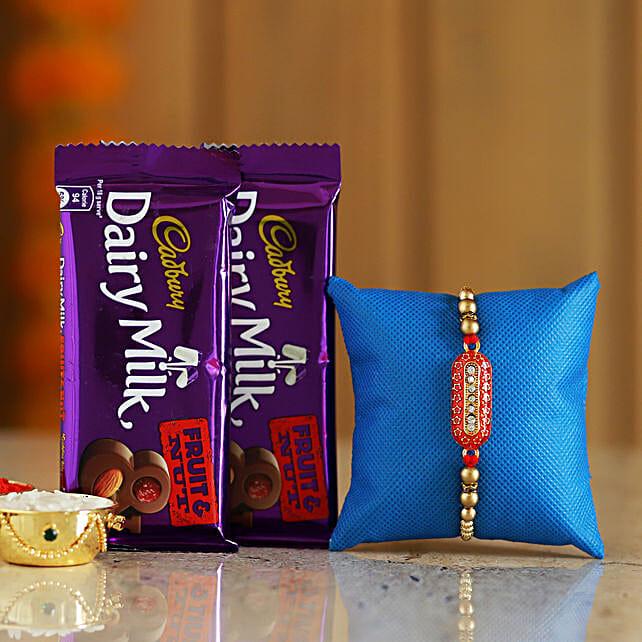 meenakari rakhi n cadbury fruit n nut chocolates online