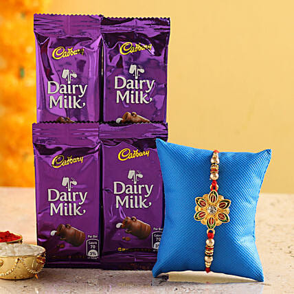 meenakari rakhi with chocolate for raksha bandhan:Rakhi Gifts to Chittoor
