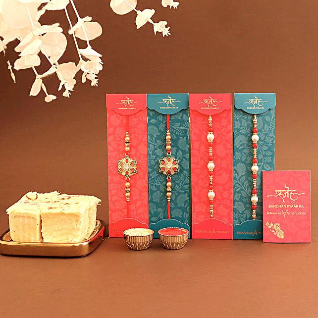 Designer 4 rakhi set with soan papdi online