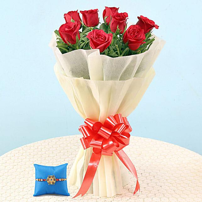 Online Elegant Red Roses Bouquet & Meenakari Rakhi