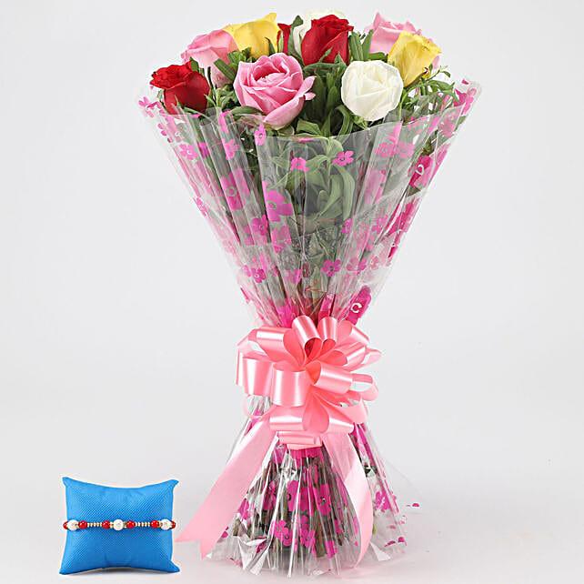 Gorgeous Mixed Roses Bunch & Pearl Rakhi