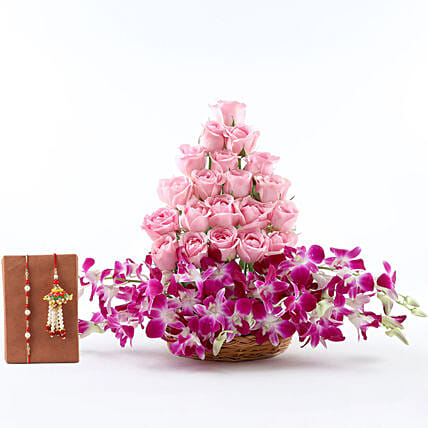 Grand Roses & Orchids Basket With Rakhi