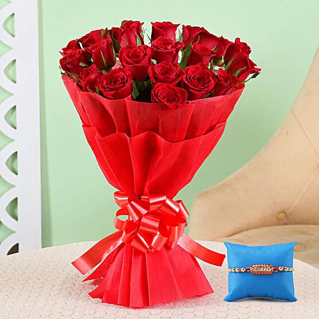 Magical Red Roses Bouquet & Capsule Rakhi