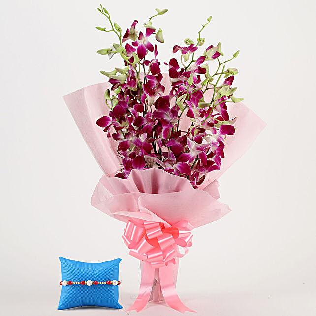 Majestic Orchids & Pearl Rakhi