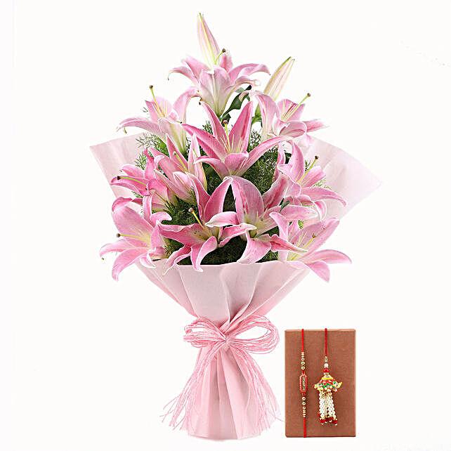 Oriental Pink Lilies & Bhaiya Bhabhi Rakhi