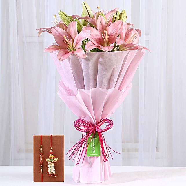Pink Lilies Bouquet & Bhaiya Bhabhi Rakhi