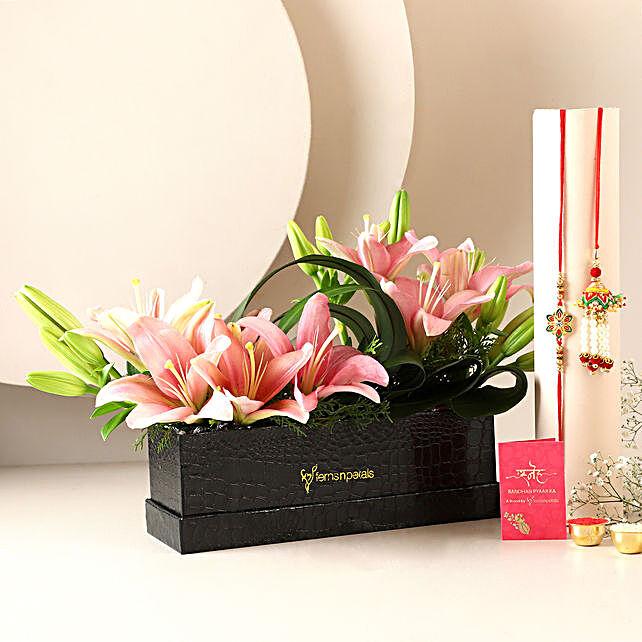 Pink Lilies Box & Bhaiya Bhabhi Rakhi
