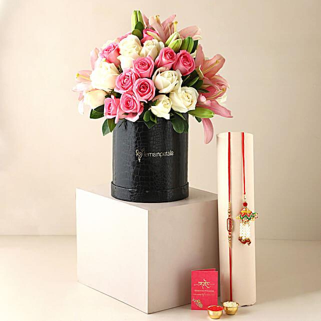 Pink White Flower Box & Bhaiya Bhabhi Rakhi
