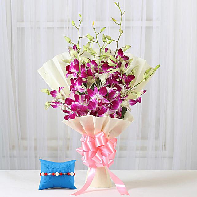 Purple Orchids Bouquet & Meenakari Rakhi