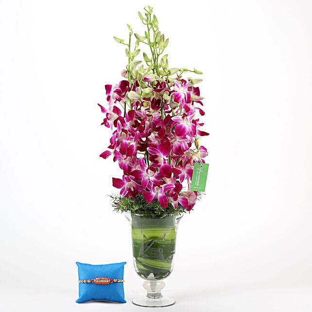 Purple Orchids Vase & Capsule Rakhi