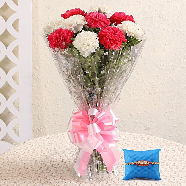 Ravishing Carnations & Capsule Rakhi