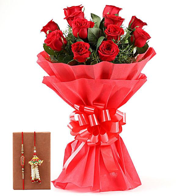 Red Roses Bouquet & Bhaiya Bhabhi Rakhi