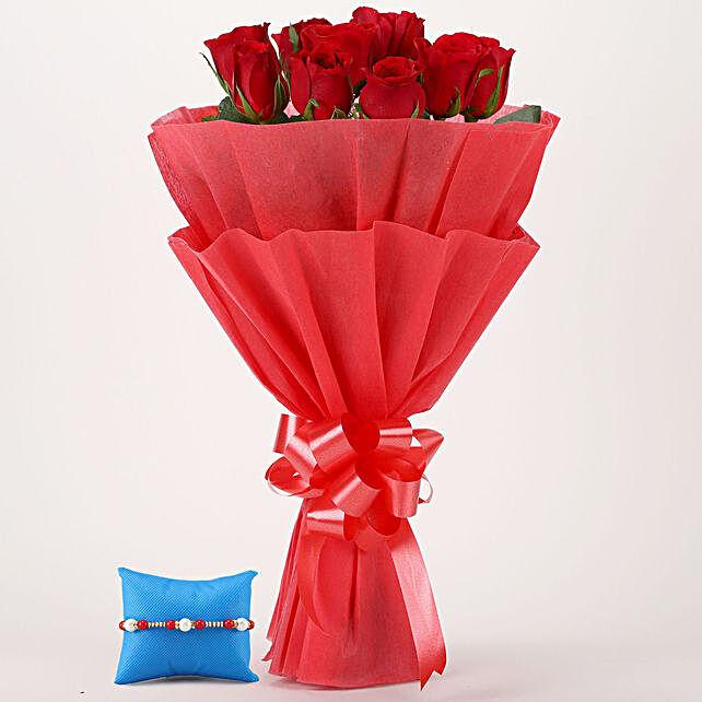 Red Roses Bunch & Pearl Rakhi