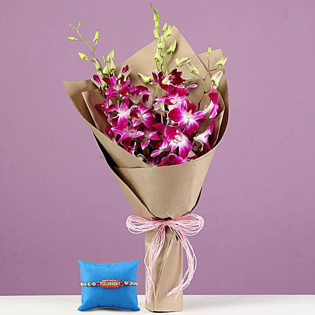 Royal Purple Orchid Bouquet & Capsule Rakhi