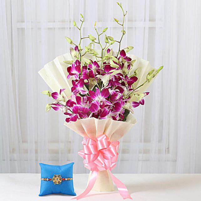 Royal Purple Orchid Bouquet & Pearl Rakhi