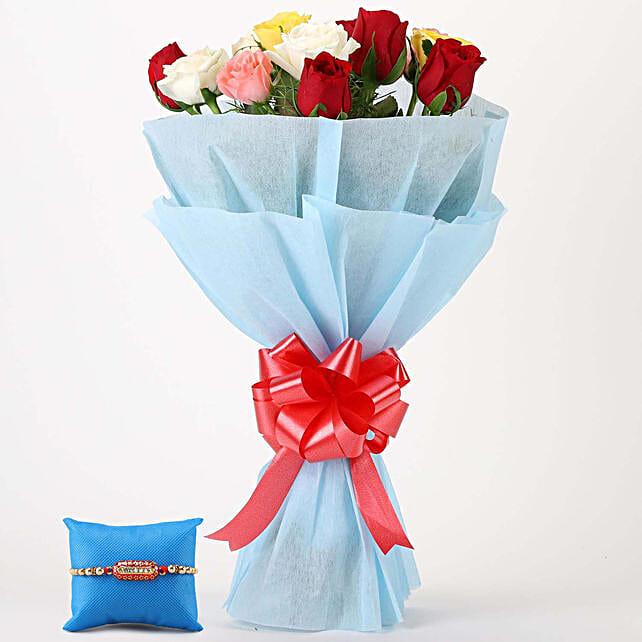 Online Vibrant Roses Bunch & Capsule Rakhi
