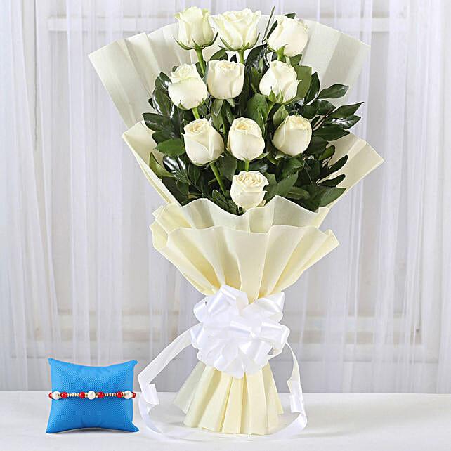 Online White Roses Bouquet & Pearl Rakhi