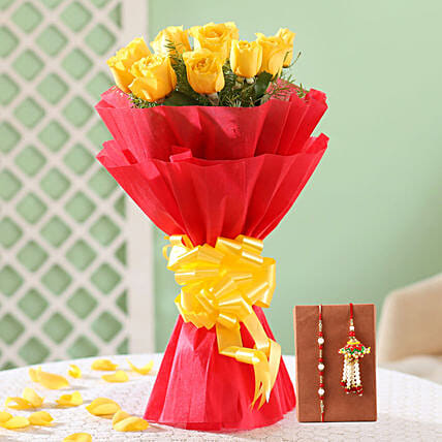 Yellow Roses Bouquet & Bhaiya Bhabhi Rakhi