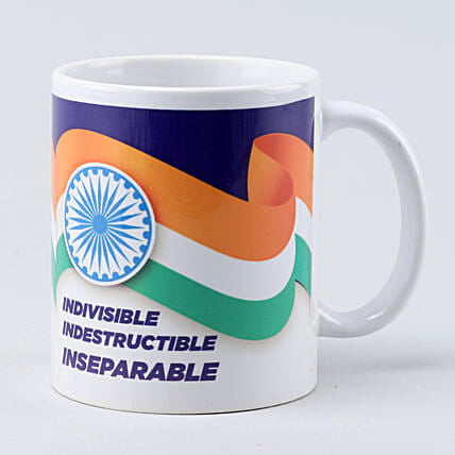 Indian Flag White Printed Mug