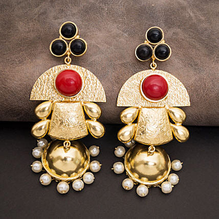 GT N Red Dome Shaped Jhumkas